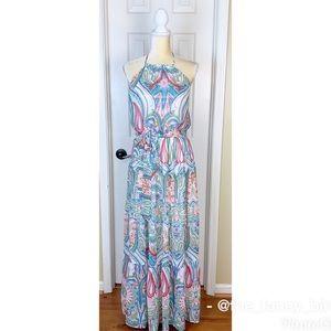 New York & Company Paisley Halter Maxi Dress Sz M